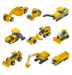Big isometric set of construction equipment vector