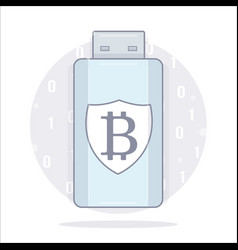 bitcoin wallet usb storage cartoon style vector image