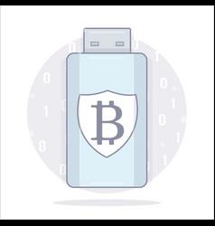 bitcoin wallet usb storage cartoon style vector image