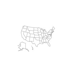 black thin line usa map contour education vector image