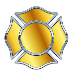 Blank fire dept logo base gold with chrome trim vector
