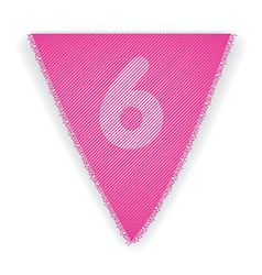 Bunting flag number 6 vector image