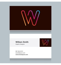 Business card letter w vector