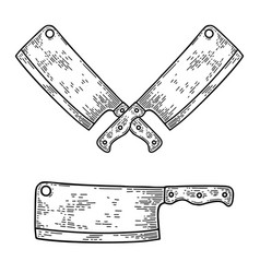 butcher cleaver in engraving style design element vector image