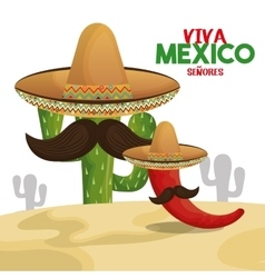 cactus chili hat viva mexico design vector image