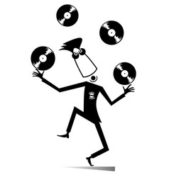 cartoon funny dj or music lover vector image
