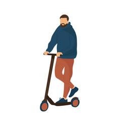 cartoon man riding scooter modern ways moving vector image