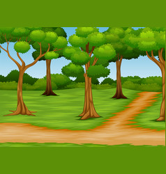 Cartoon of forest scene with dirt road vector