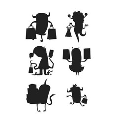 cartoon silhouette monster shopping vector image