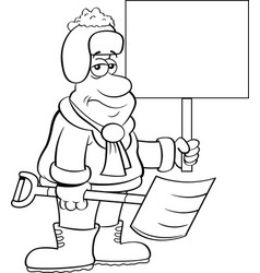 cartoon weary man holding a snow shovel and a sign vector image