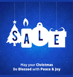 Chrismtas sale tag with pattern background blue vector