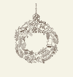 composition with christmas symbols hand drawn vector image