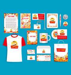 Corporate identity items for fast food vector