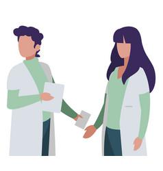 Couple doctors professionals characters vector