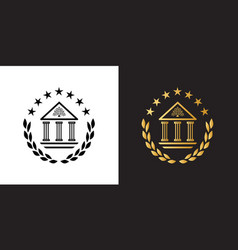 crest logo with academy building and laurel wreath vector image
