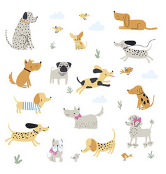 Cute little dogs hand drawn vector