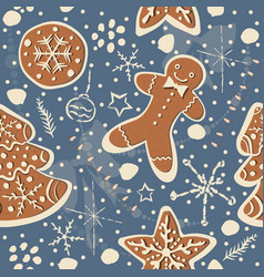 cute seamless winter background with gingerbread vector image