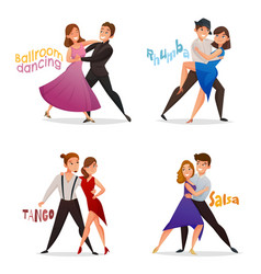 Dancing pairs retro cartoon set vector