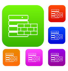 Database and brick wall set collection vector