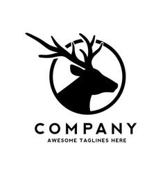 deer head silhouette monogram logo vector image