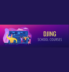 electronic music concept banner header vector image