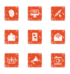 engineering mail icons set grunge style vector image