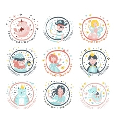 Fairy Tale Characters Girly Stickers In Round vector