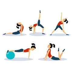Fitness Women Workouts Set vector image