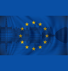 Flag of european union with brussels skyline vector