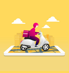 Food delivery service scooter with courier vector