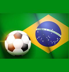 Football ball and brazil flag vector