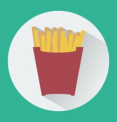 French Fries Box round icon vector image