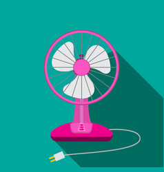Front view of mini electric fan for home with vector