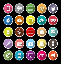 Gadget flat icons with long shadow vector image