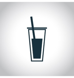 Glass with juice black icon vector
