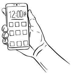 Hand holding smartphone black line sketch vector