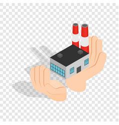 hands holding a chemical plant isometric icon vector image