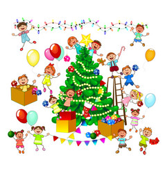 happy kids decorate christmas tree vector image