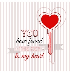 Happy Valentines Day card with key vector image