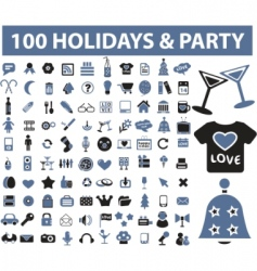 holiday party icons vector image