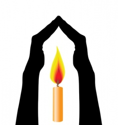 human hands caring flame vector image