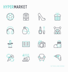 hypermarket thin line icons set vector image