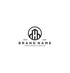 Letter h and building logo design vector