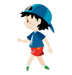 little boy in blue shirt and cap vector image