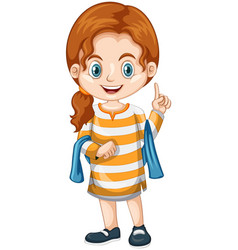 Little girl pointing finger up vector