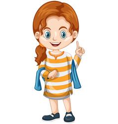 little girl pointing finger up vector image