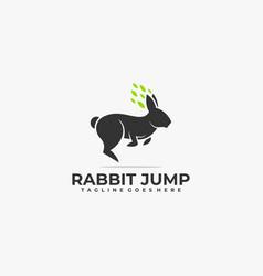 Logo rabbit jump silhouette style vector