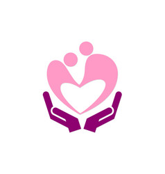 Love couple care hand logo vector