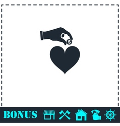 Love for money icon flat vector