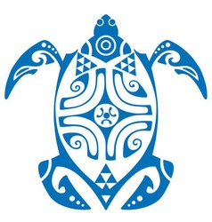 maui turtle tattoo motif vector image